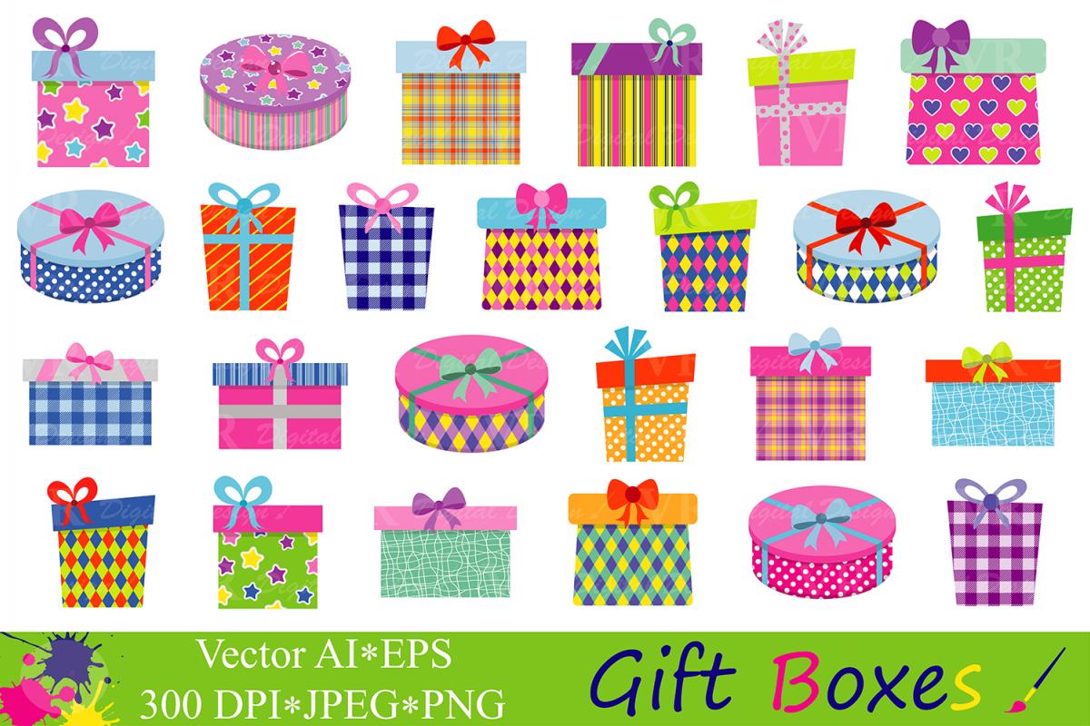 Super Gift Boxes Clipart / Birthday Party Pre | Design Bundles LV51