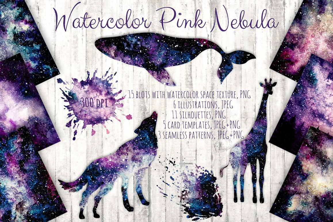 Watercolor Pink Nebula Collection example image