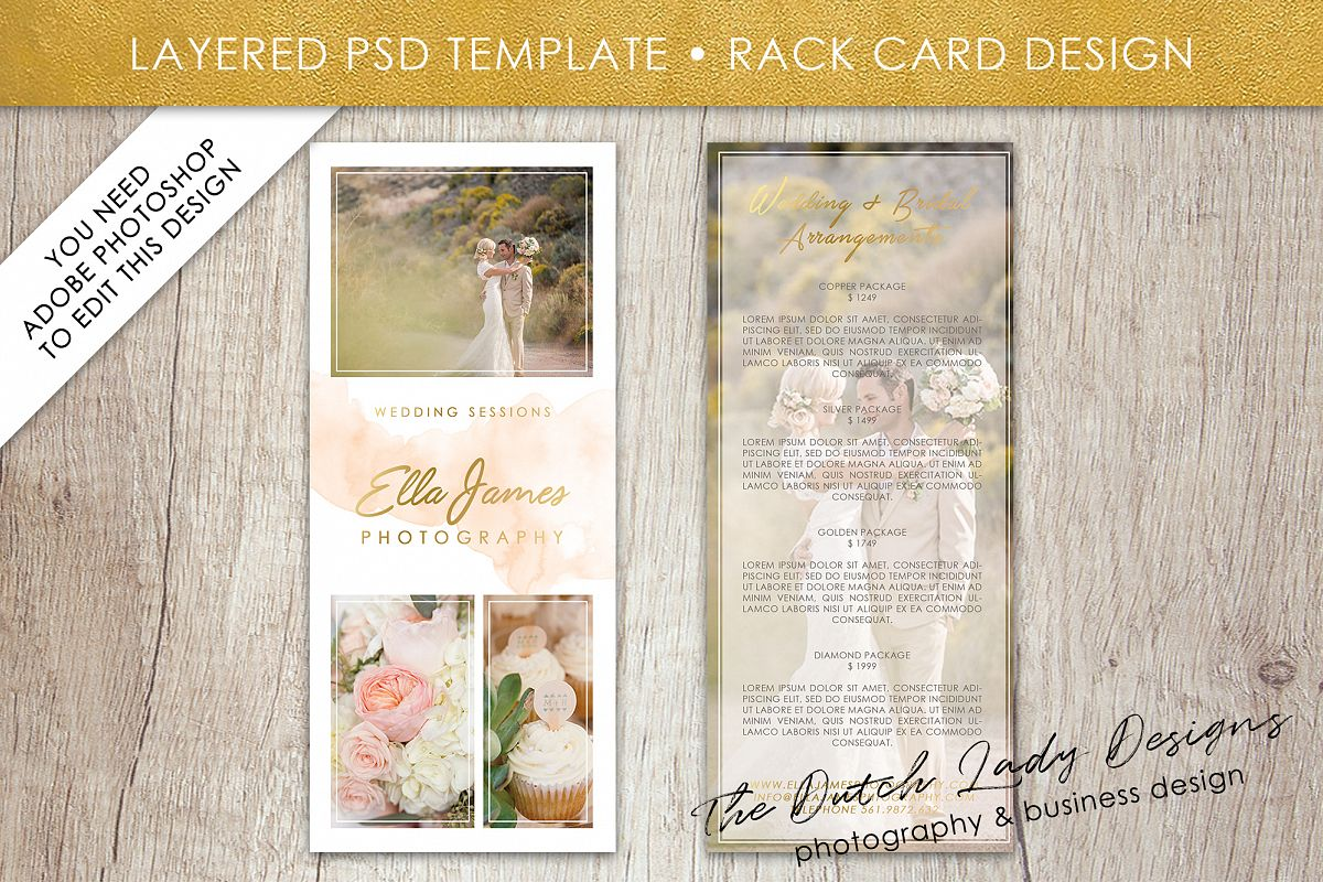 Photo Rack Card Template For Adobe Phot Design Bundles - Rack card template photoshop