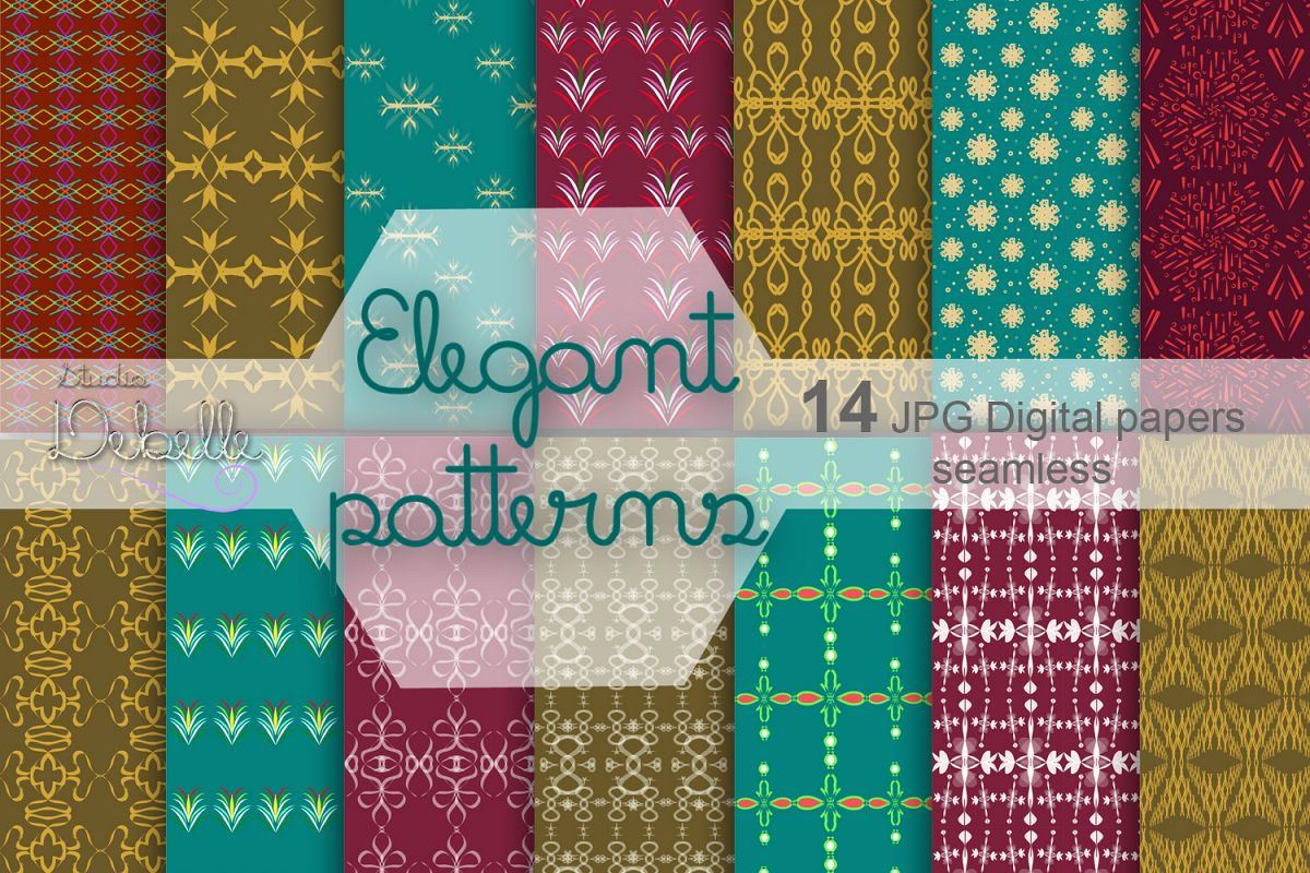 Elegant Patterns digital paper pack seamless pattern example image