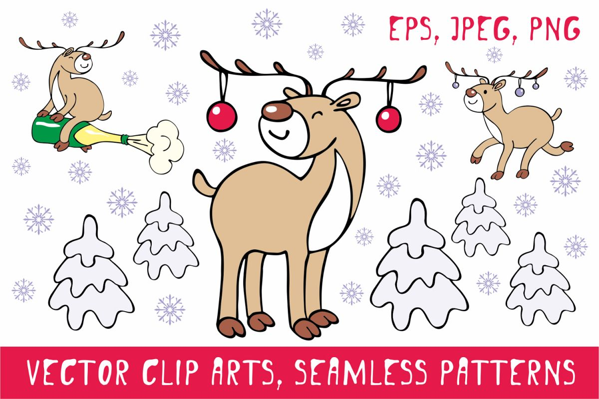 Funny deer. Christmas clip arts and seamless patterns example image