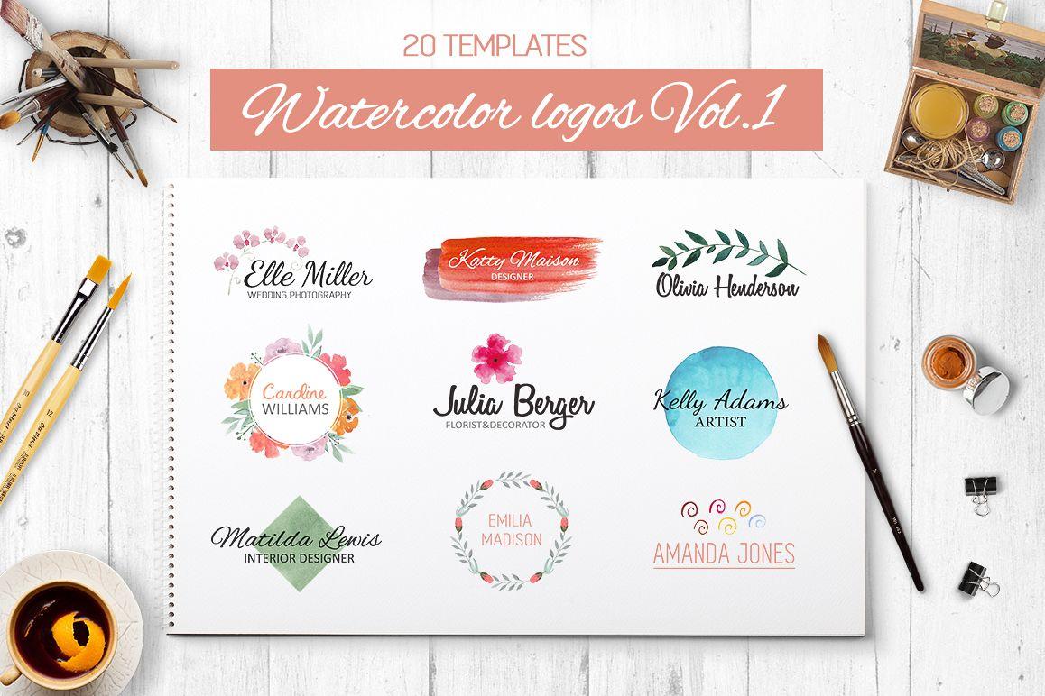 Watercolor logo templates. 20 premade l | Design Bundles