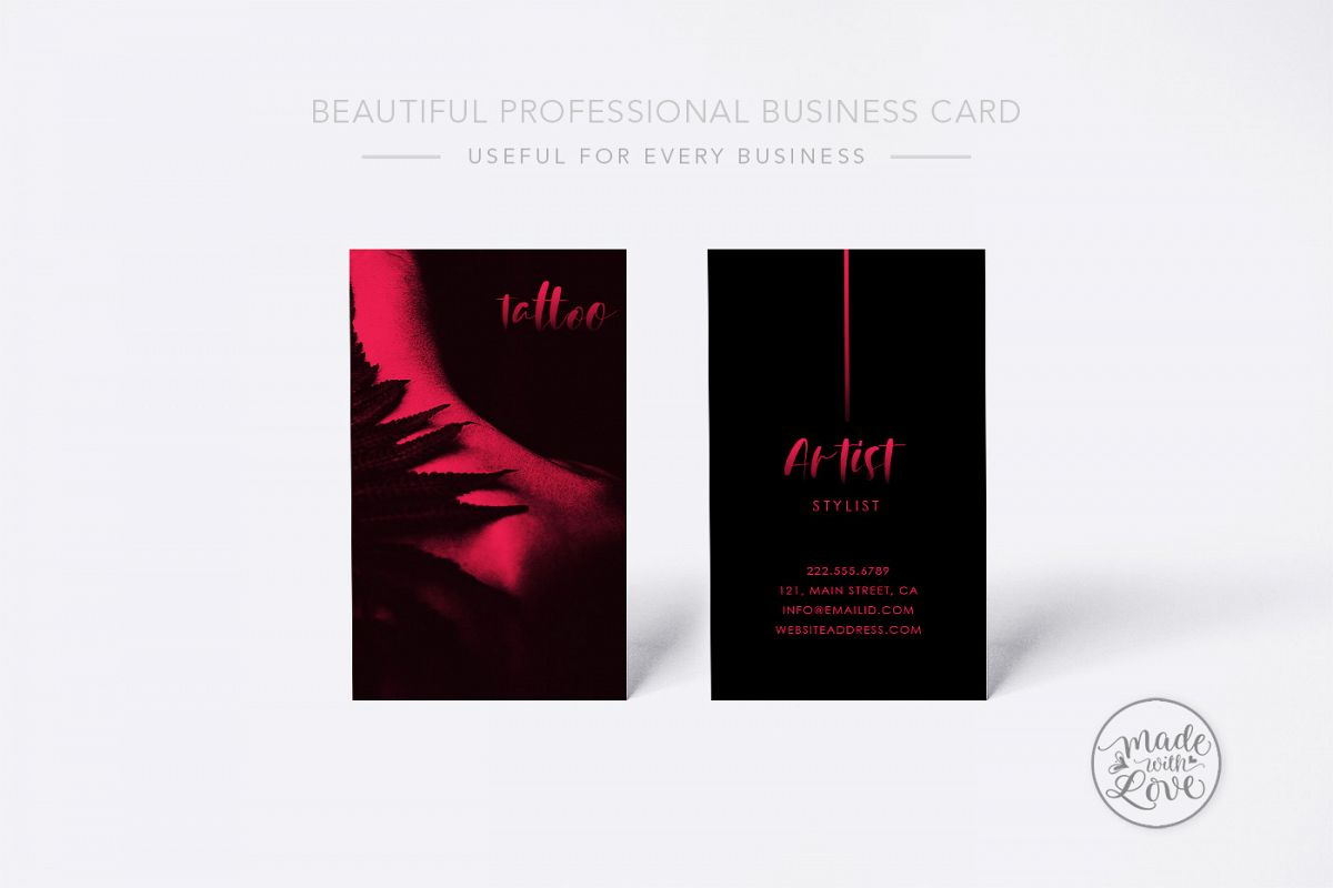 Tattoo Artist Professional Business Car | Design Bundles
