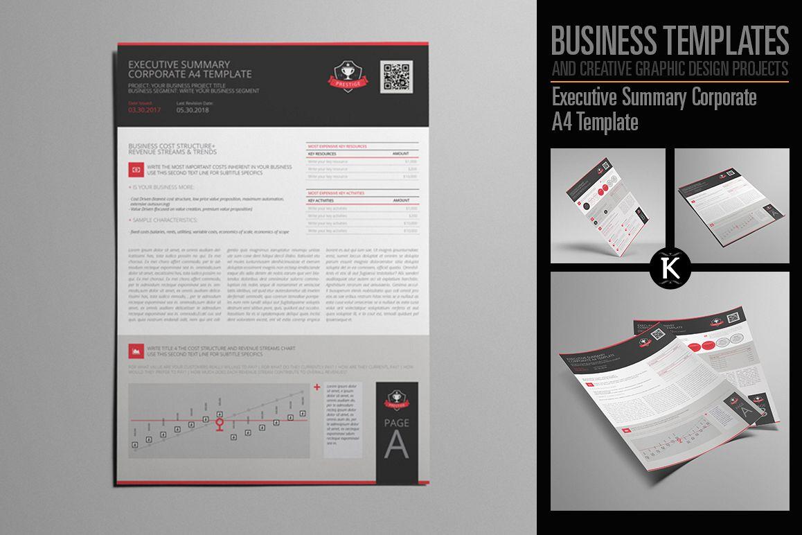 Executive Summary Corporate A4 Template | Design Bundles