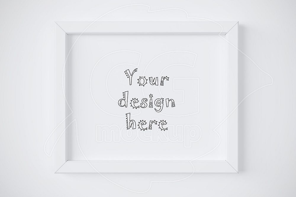 Simple white frame mockup 8x10\