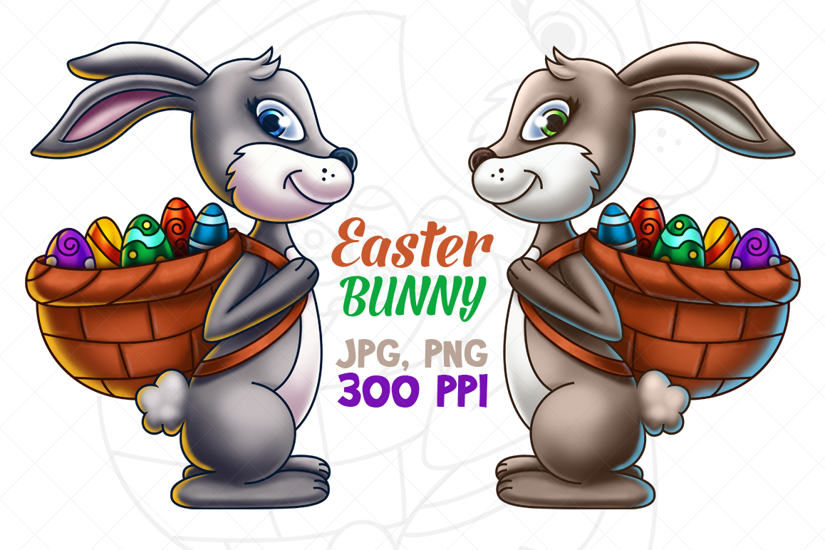 Easter Bunny Carrying Eggs - Digital Painting example image