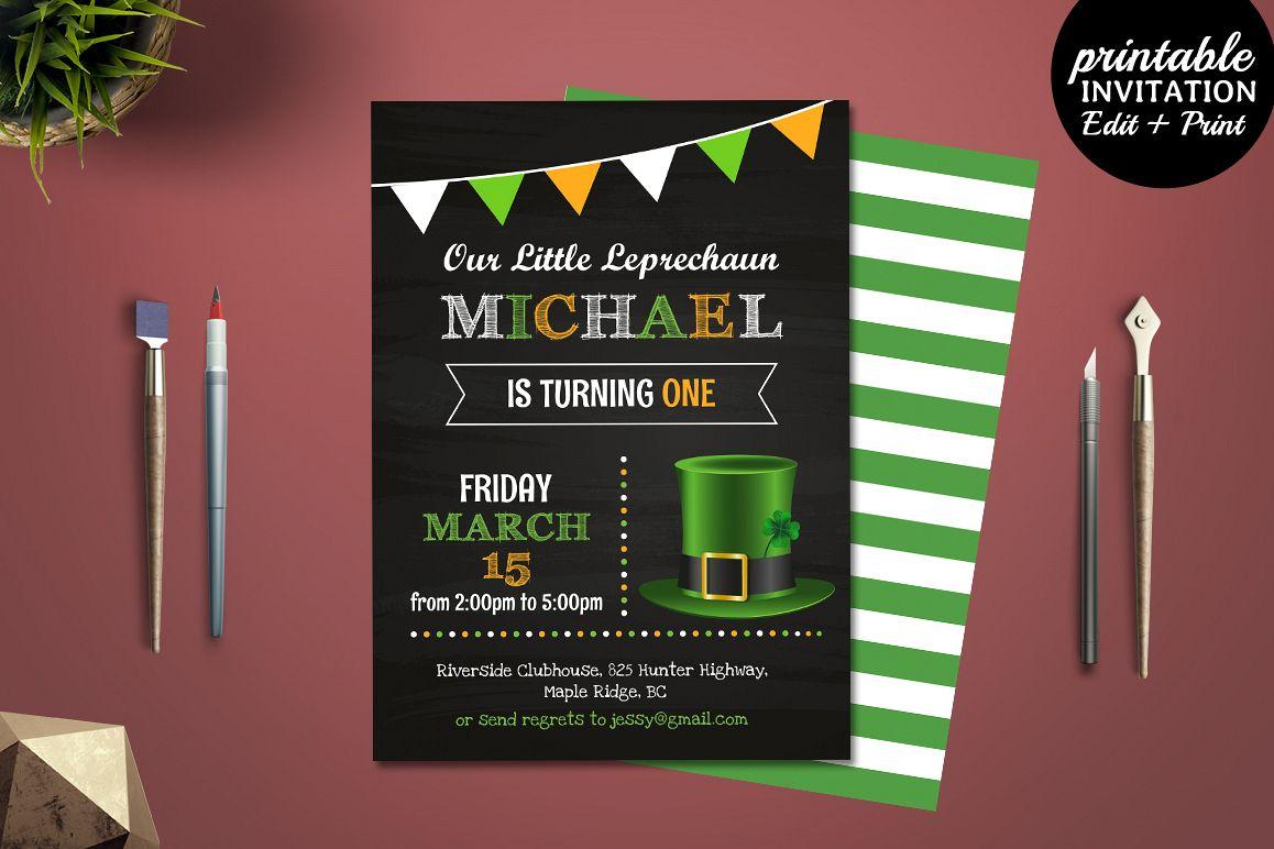 Printable Boy Birthday Invitation Templ | Design Bundles