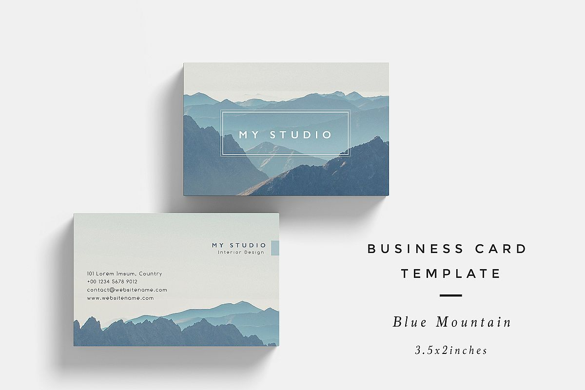 Blue Mountain Business Card Template by | Design Bundles