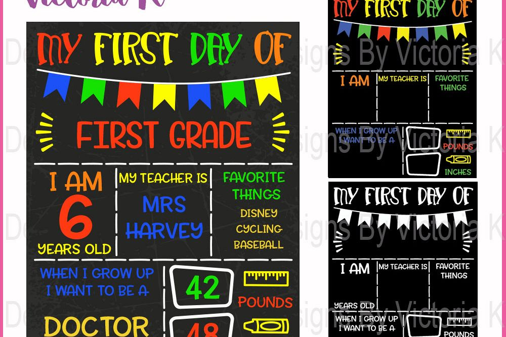First day of school board, chalkboard style svg file, SVG, DXF, EPS Files, Cricut Design Space, Vinyl Cut Files example image