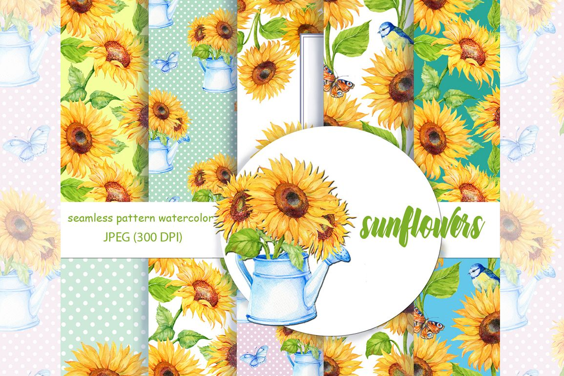 Watercolor Digital PaperSunflower Pattern Sunflower Background Floral Paper