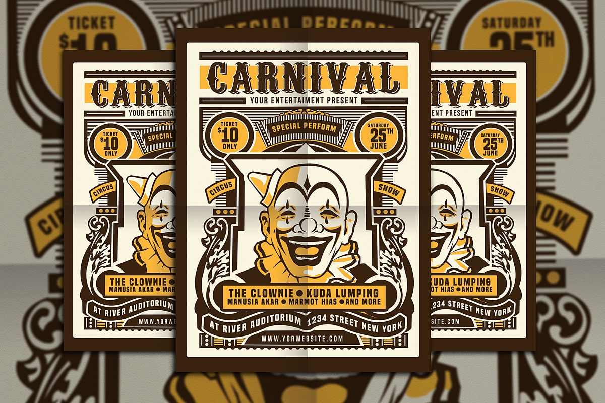 Vintage Circus Carnival Flyer Poster Example Image