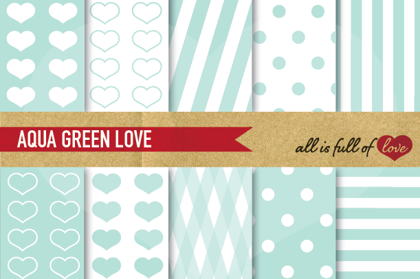 Aqua Green Digital Paper Mint Background Patterns  example image