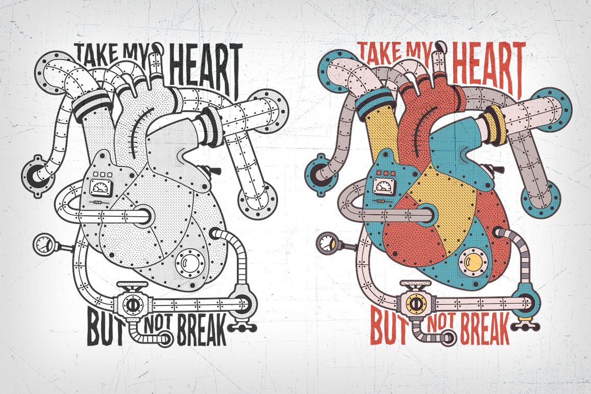 Mechanical steampunk heart example image
