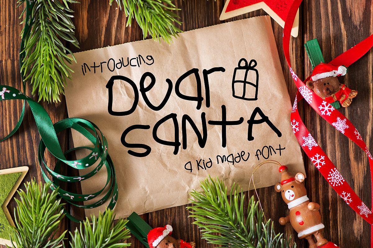 Dear Santa a Kid Made Font example image