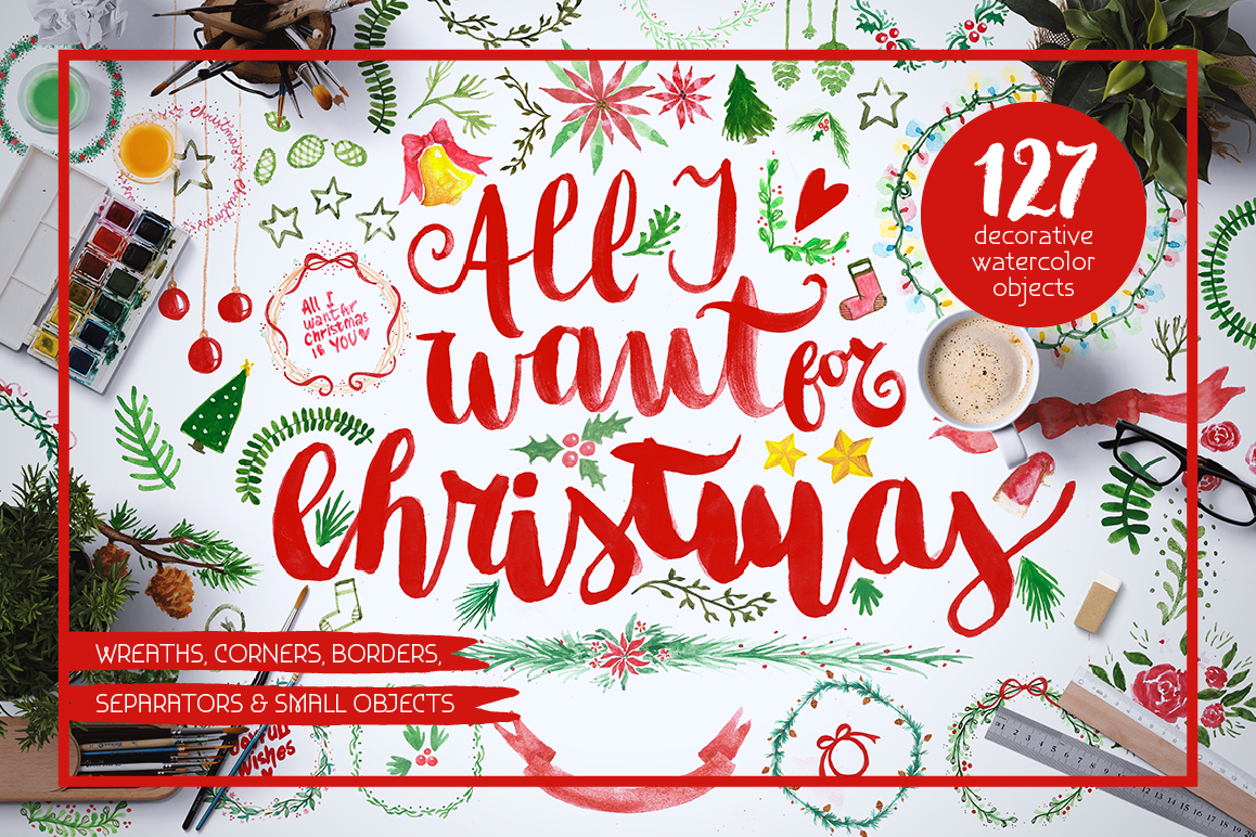 All I Want 4 Christmas Graphics Pack example image