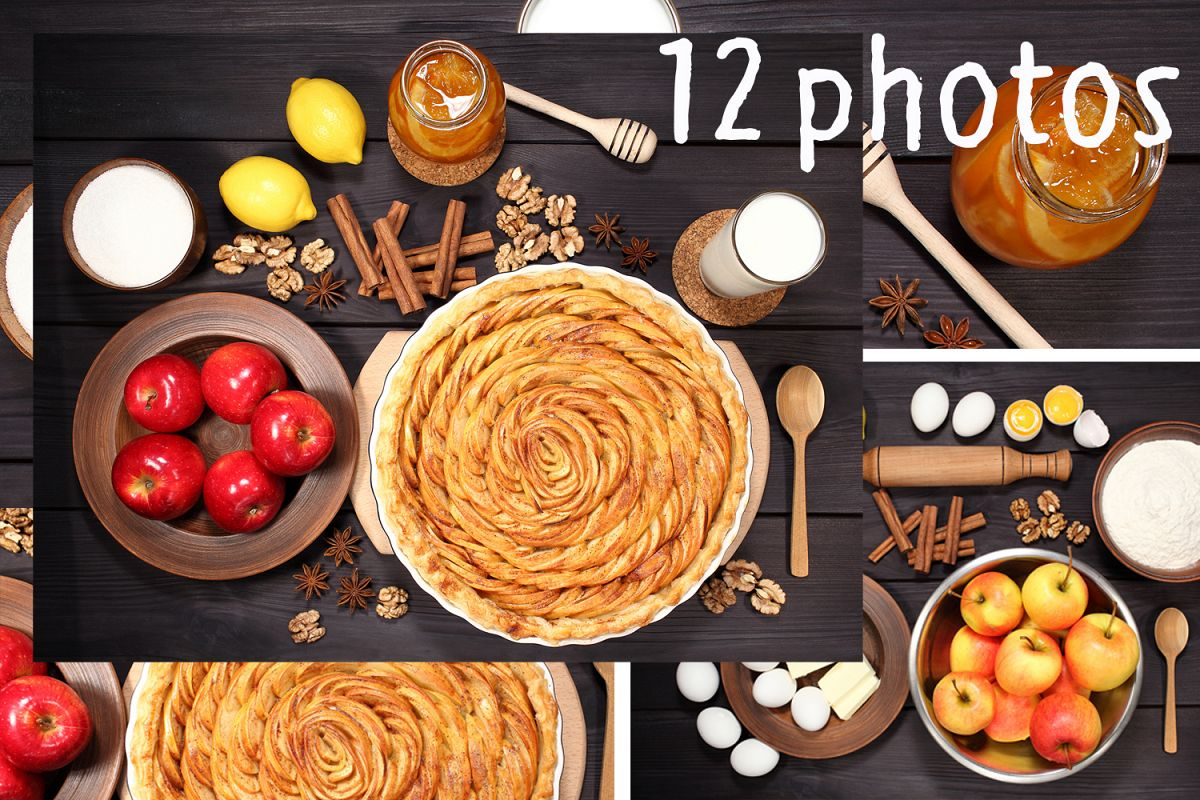 Set 12 photos Apple Pie and raw ingredients for baking. Sweet food series. Dessert. Top view example image