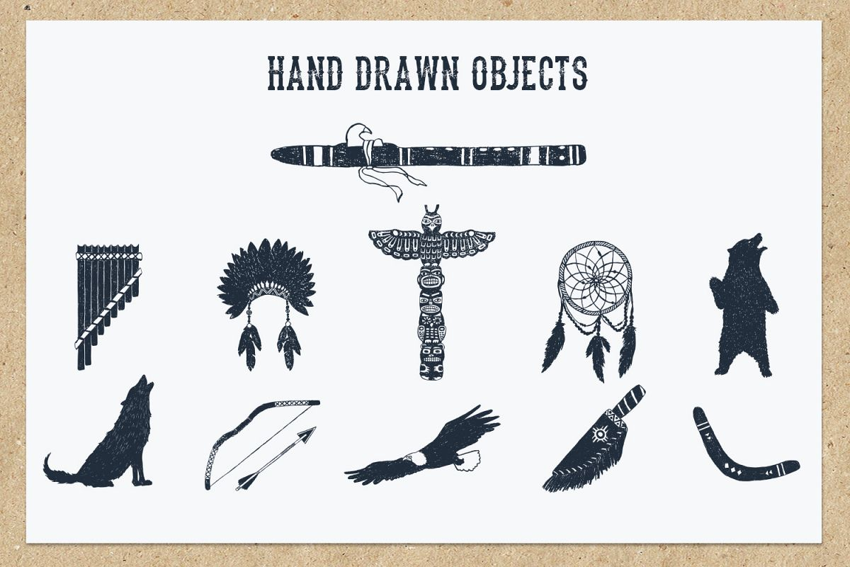 Native Spirit. 55 Hand Drawn Objects example image 4