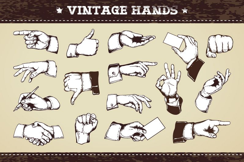 Vintage Hands | Vector Icons example image
