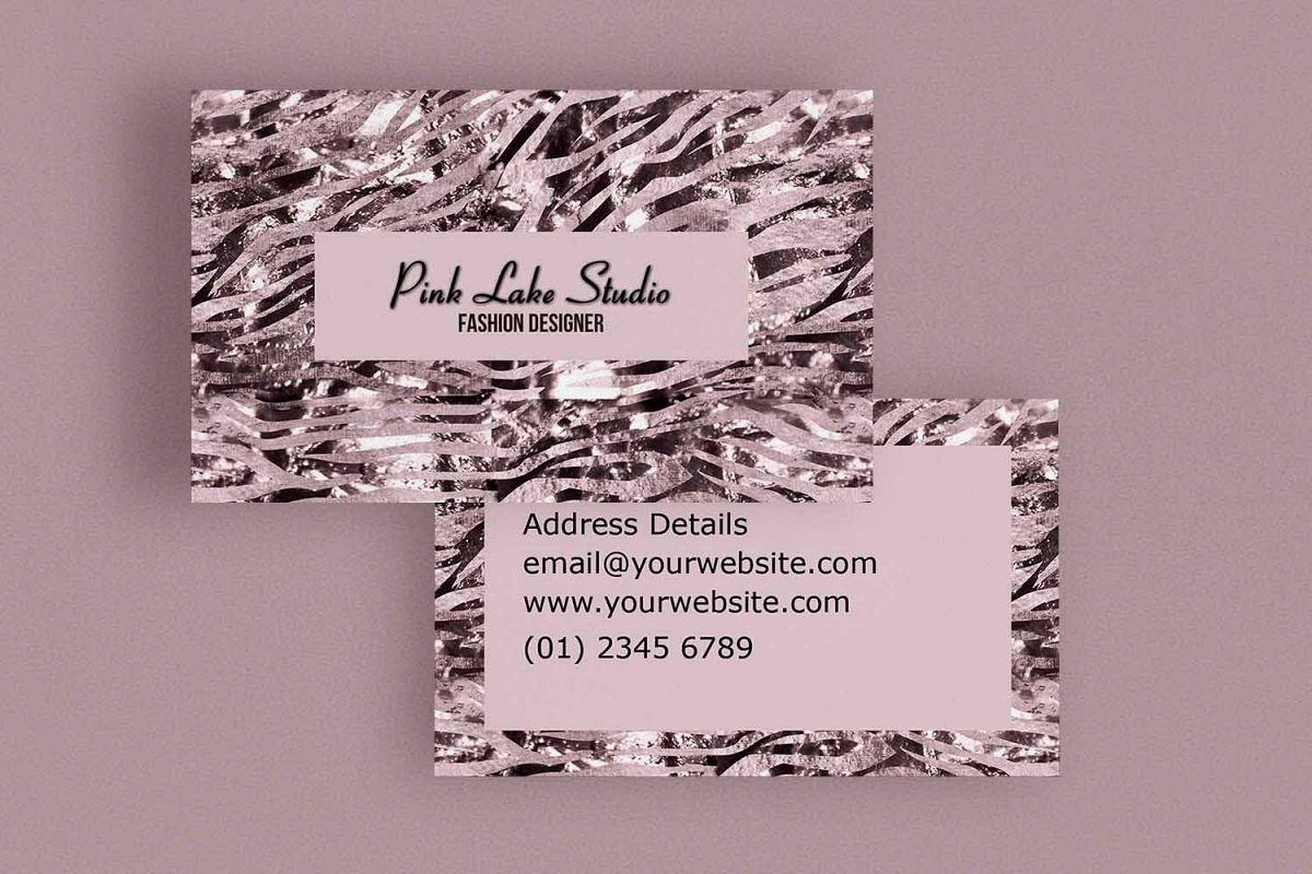 Glitzy Pink Zebra Print Business Card T | Design Bundles