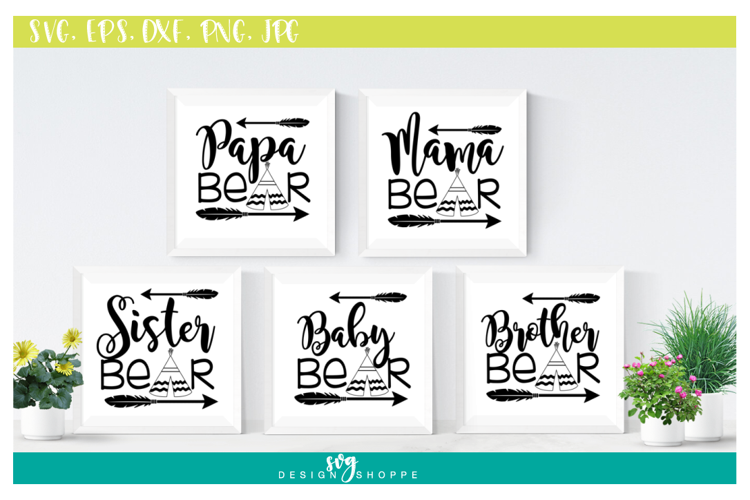 SVG Bundle, Papa Bear SVG Files, Mama Bear, Sister Bear, Baby Bear, Brother Bear, SVG files for Cricut, SVG for Silhouette, Commercial Use example image