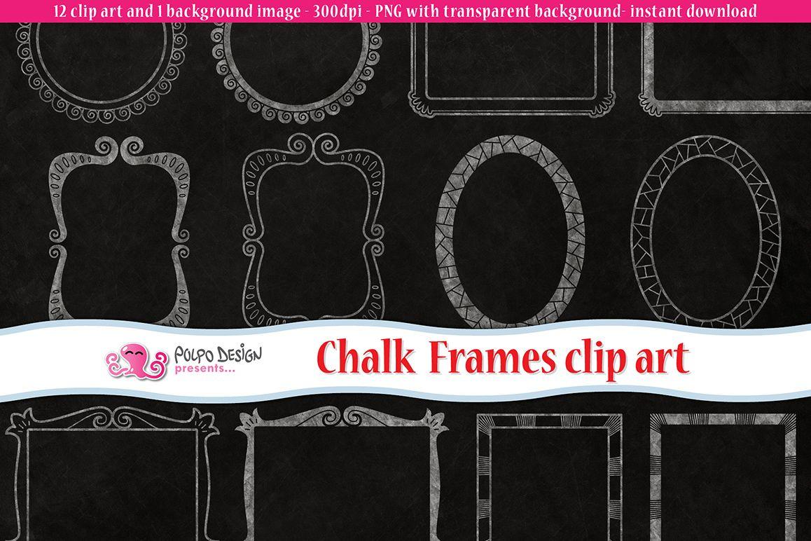 Chalkboard Frames clip art by Polpo Des | Design Bundles