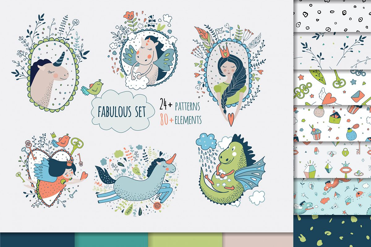 Vector set. Cute princess collection example image