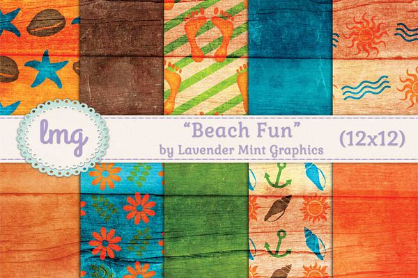 Beach Fun Digital Scrapbook Paper example image
