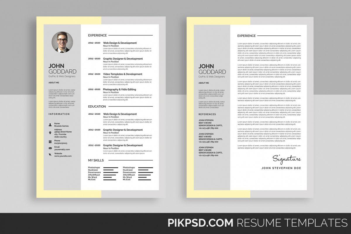 Material Design Resume/CV Set by Busin | Design Bundles