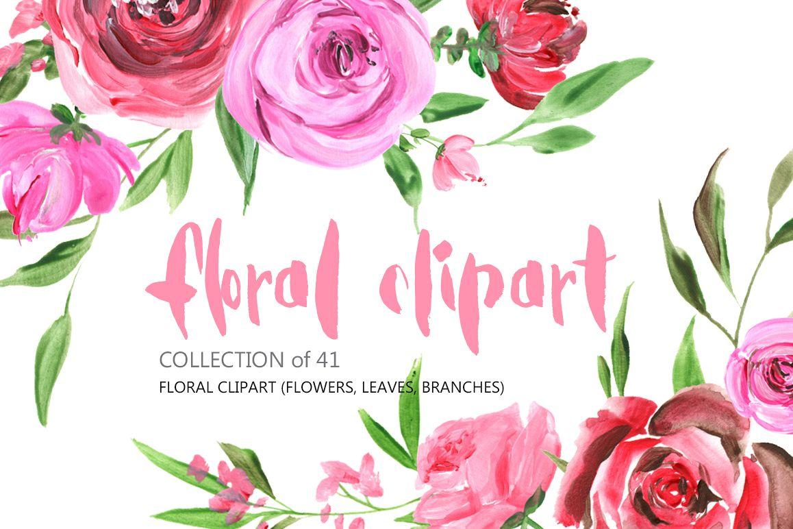 acrylic watercolor flowers png set by w design bundles flower bouquet clip art gold flower bouquet clip art with heart