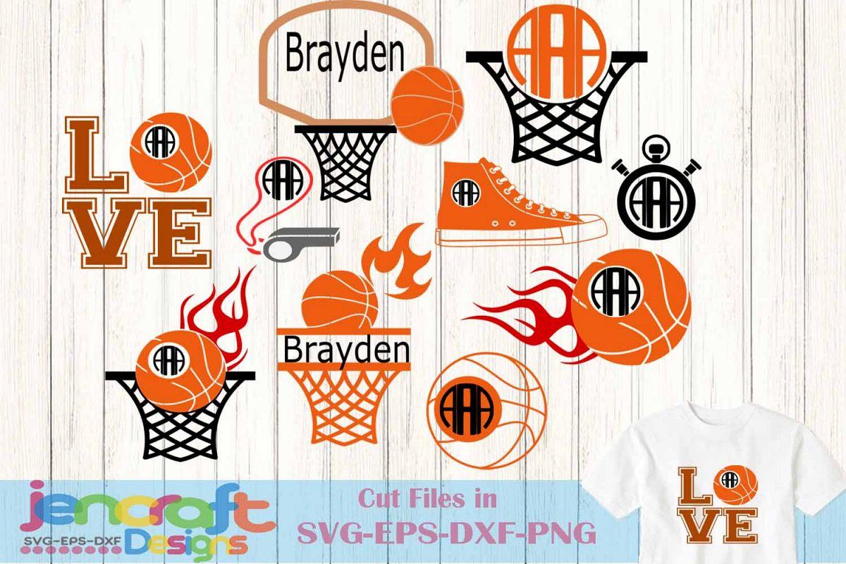 Basketball SVG Cut Files Monogram Frame | Design Bundles