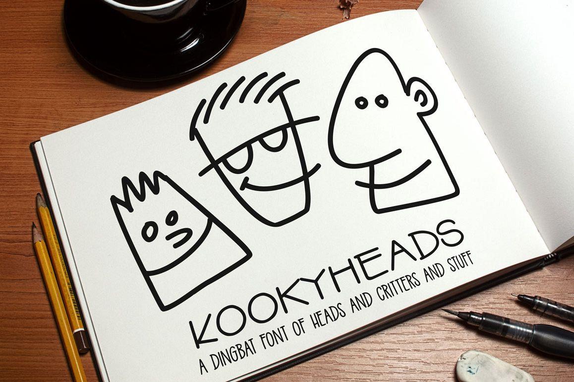 Kookyheads: a dingbat doodle font! example image