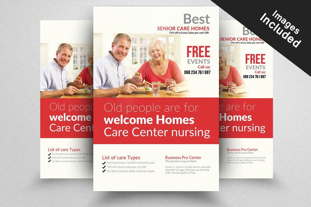 Senior Care Homes Flyers Template by De | Design Bundles