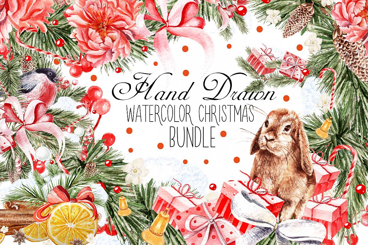 HandDawn Watercolor Christmas BUNDLE example image