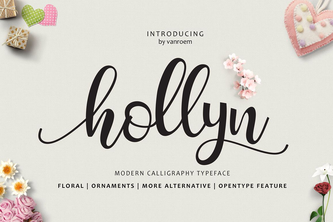 Hollyn Script with Ornaments Font example image