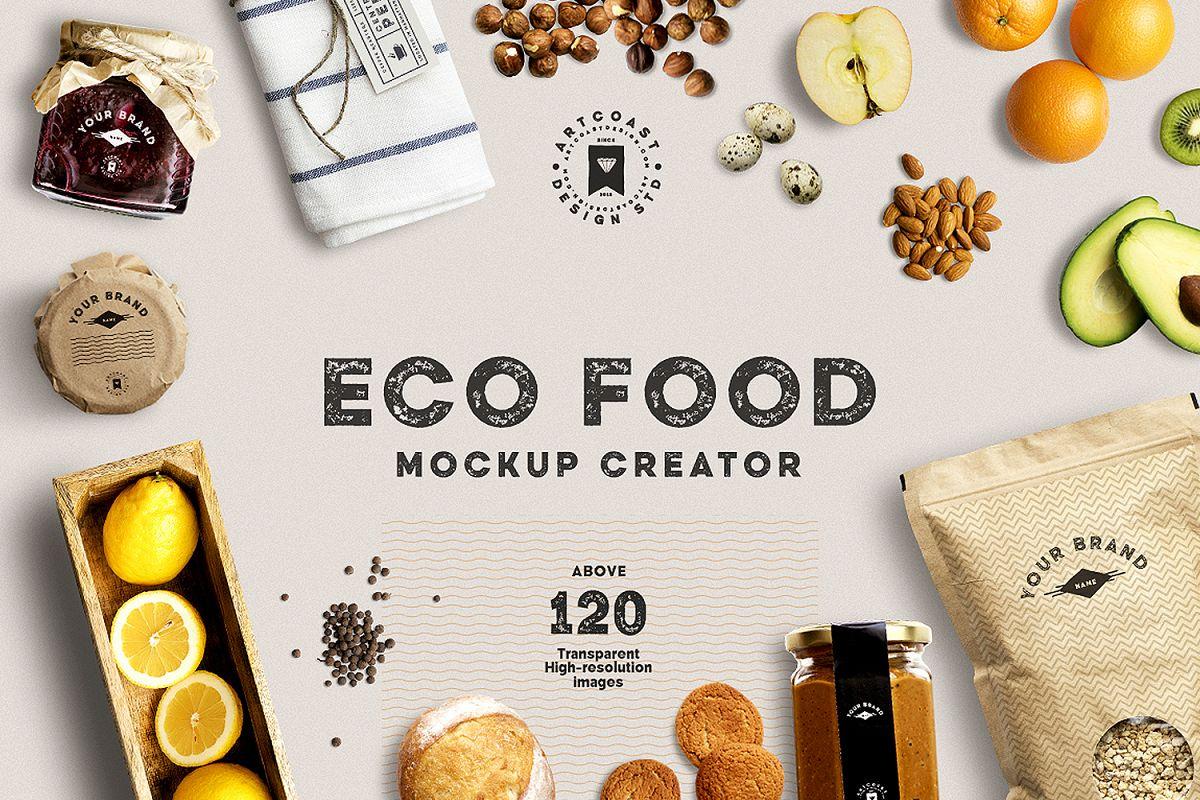 eco food mockup creator by artcoast std design bundles. Black Bedroom Furniture Sets. Home Design Ideas