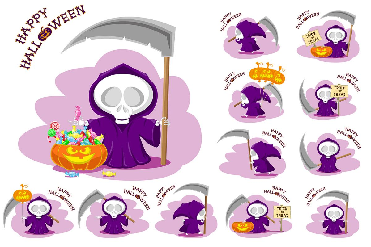 Set Of 12 Figure Funny Little Death With Large Scythe And Halloween Pumpkin Vector Illustration