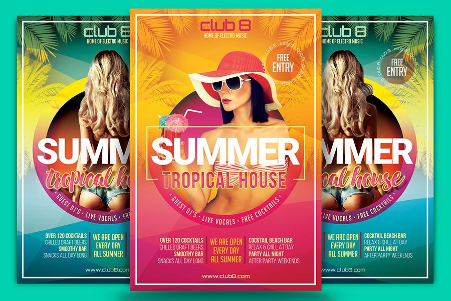 Summer Tropical House Flyer Template By Design Bundles
