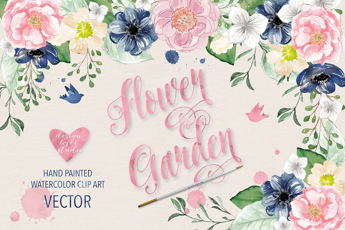 Vector Watercolor Navy blue and Pink Flower Garden clipart example image