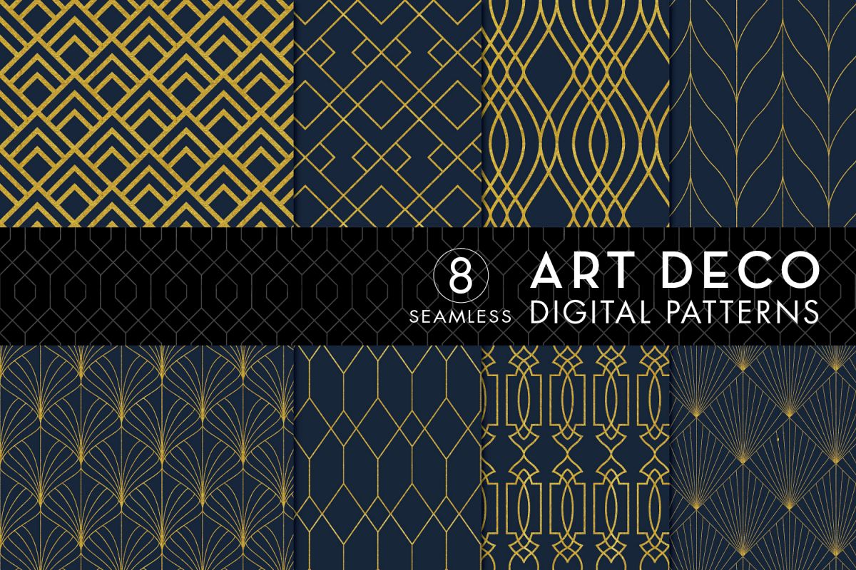 8 Seamless Art Deco Patterns - Gold & N | Design Bundles