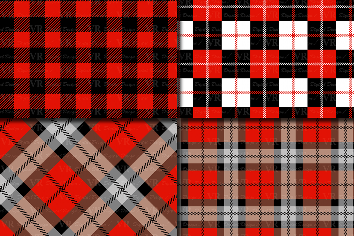 Black and Red Plaids Digital Paper Set example image 2