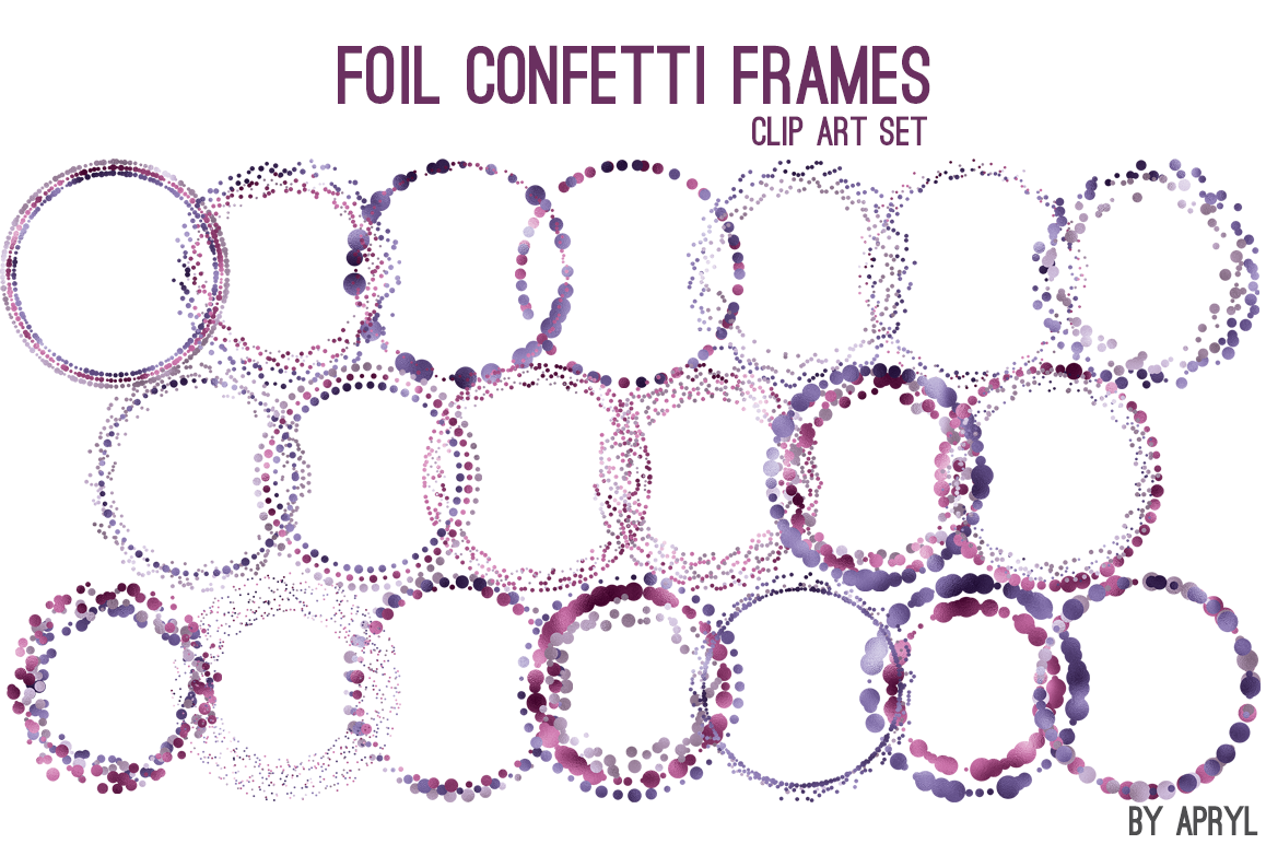 Purple Foil Round Confetti Frames by Gr | Design Bundles