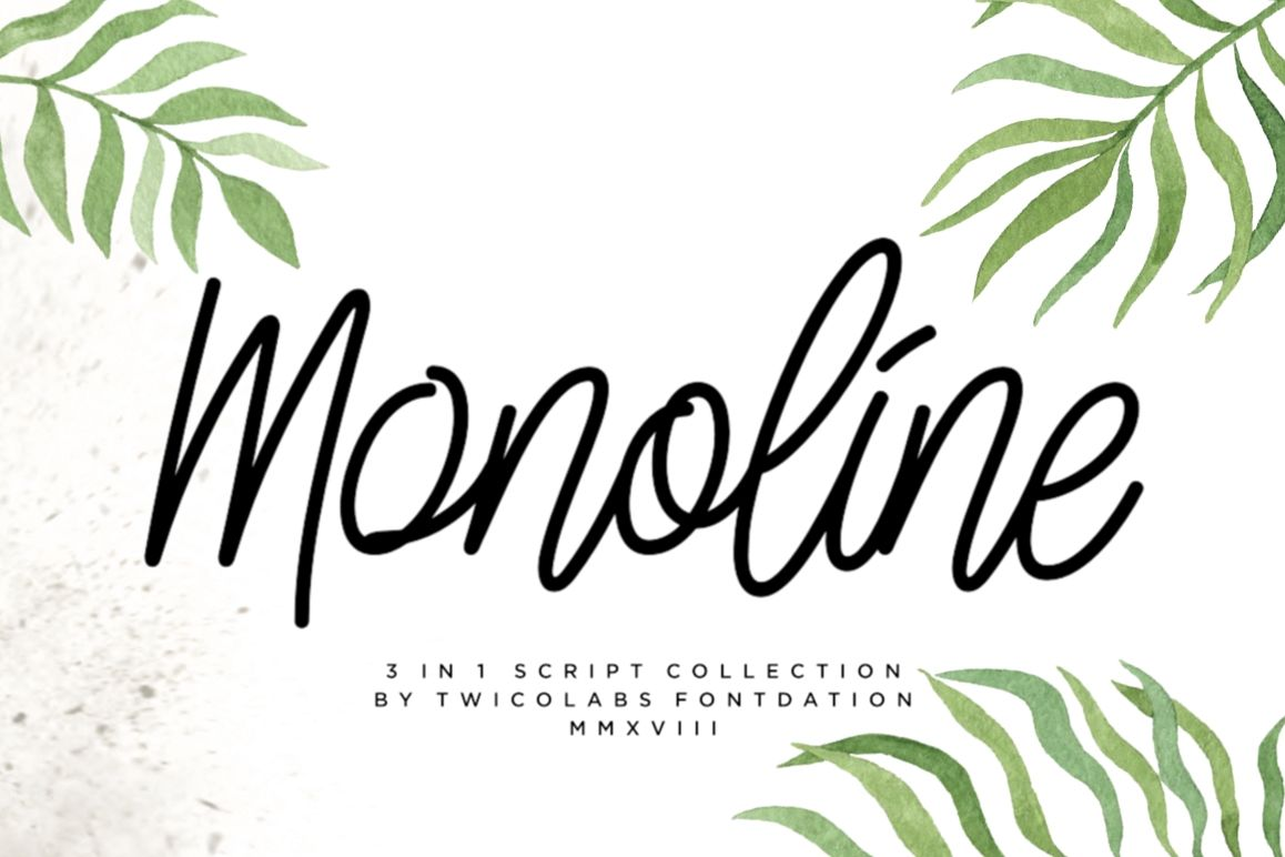 3 in 1 Monoline Script Font example image