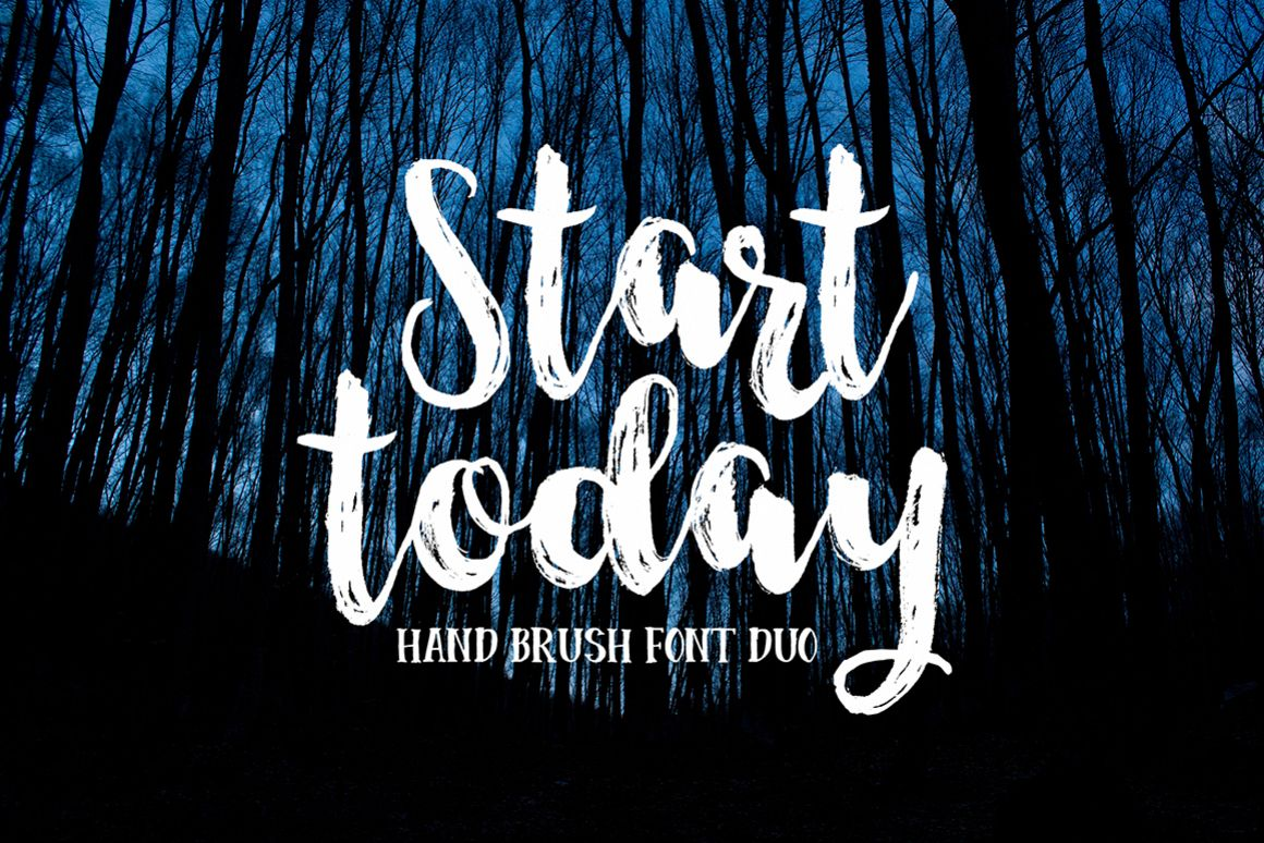 Start Today - Brush Font Duo example image