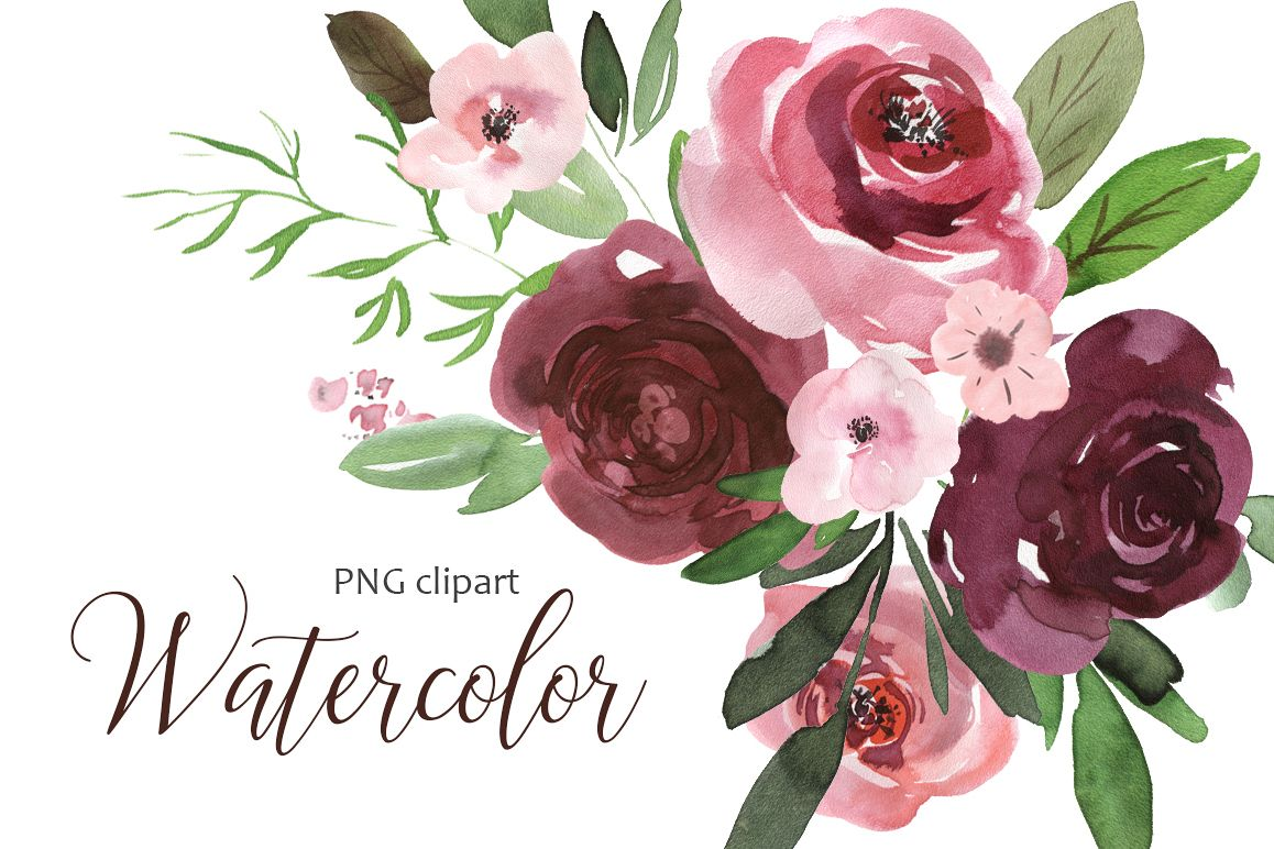 Watercolor pink & burgundy flowers clip | Design Bundles