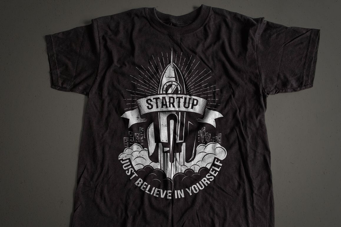 Startup Rocket Retro Logo example image 3