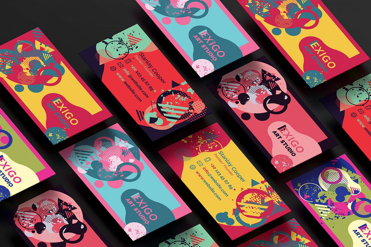 Memphis Style Business Cards by Felicit | Design Bundles