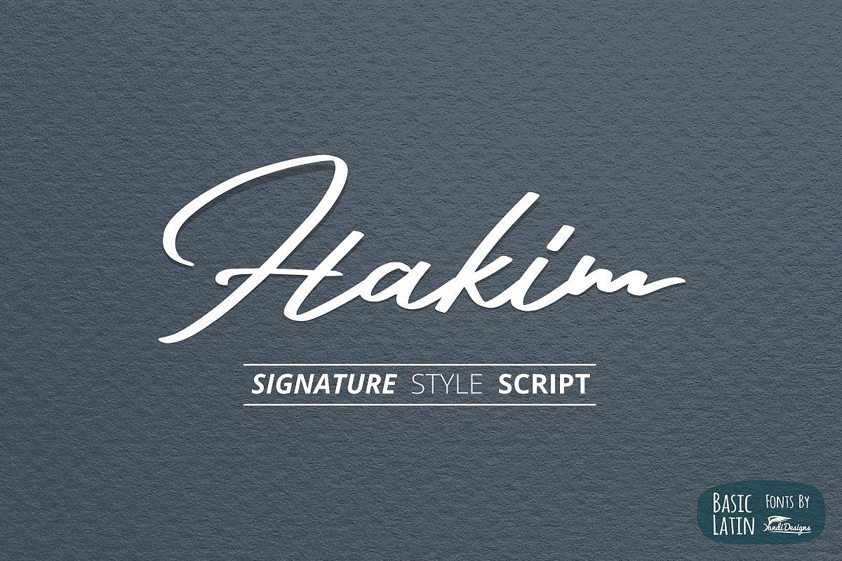 Hakim Signature Font example image