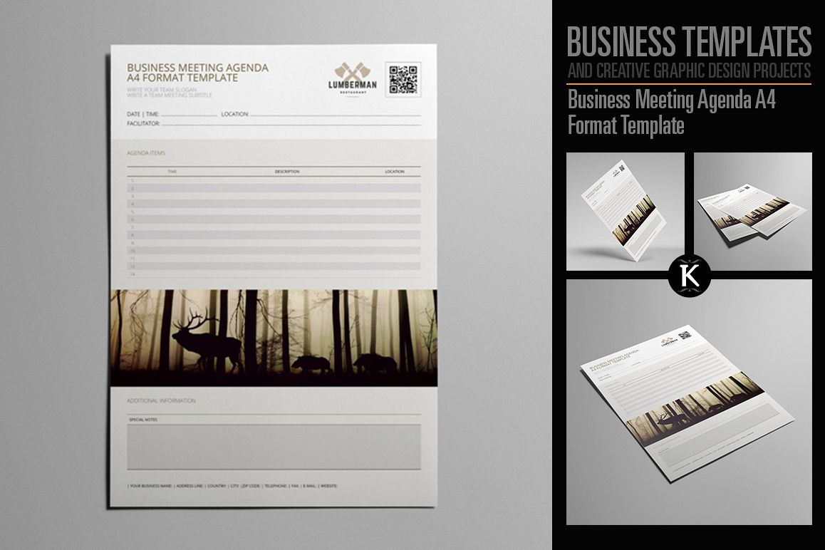 Business Meeting Agenda A4 Format Template example image