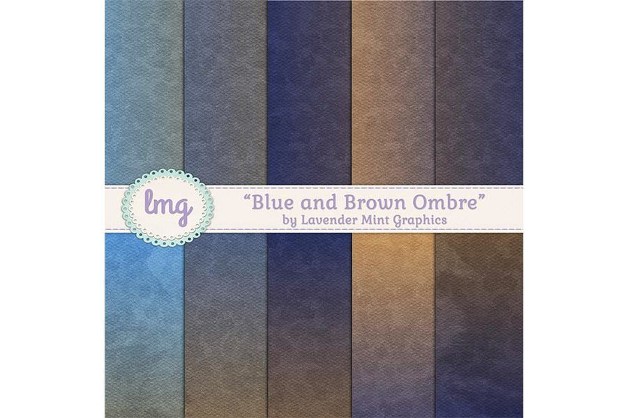 Blue and Brown Ombre Digital Papers example image