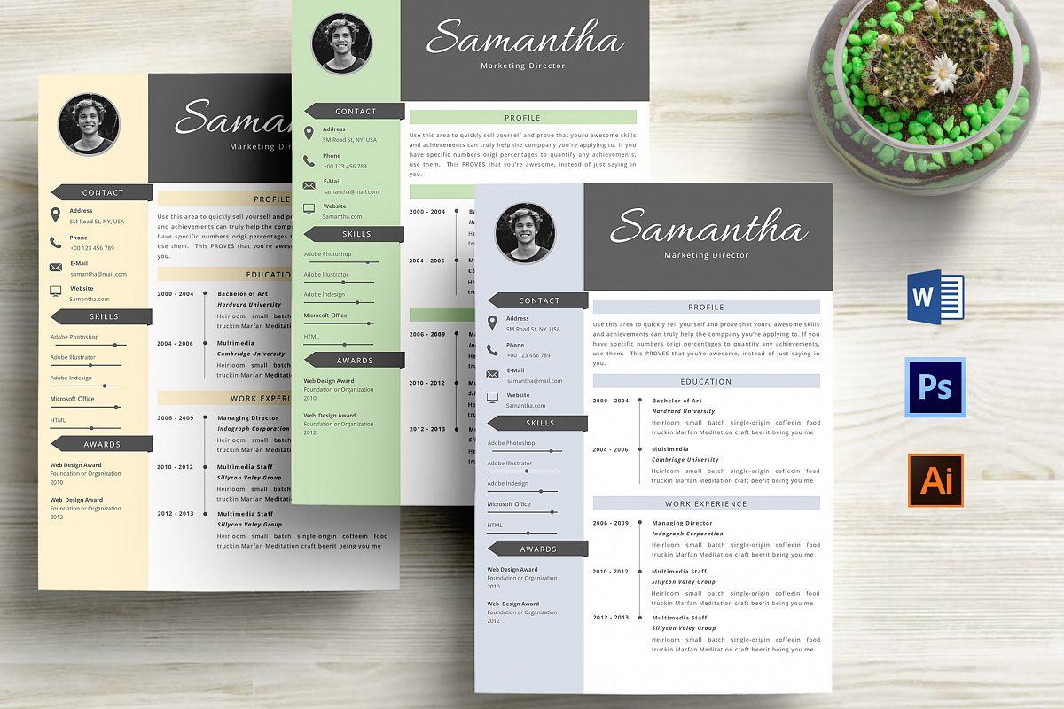 Creative resume template creative cv template with yellow paper creative cv resume template word by pro design bundles maxwellsz